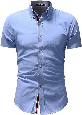 Camisa Formal De Manga Corta con Botones Cuello Alto para ...