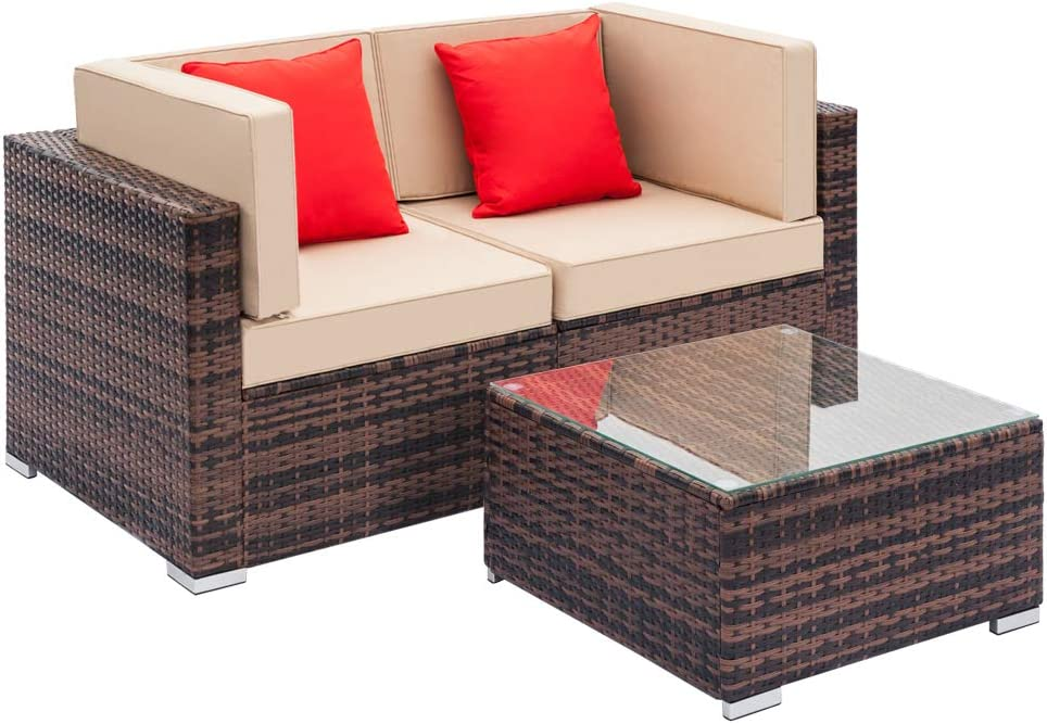 Ferie Patio Houston Mall Furniture Sets 3 Wicker Pieces OFFicial site Furnitu Rattan