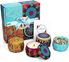 4 Popular Fragrance: Scented candles gift set with 4 pack, which includes 4 Fragrances- Spring, Lavender, Lemon, and Mediterranean Fig. Natural Soy Wax: Made with natural soy wax, evenly burning and produce no black smoke, more healthier, harmless to...