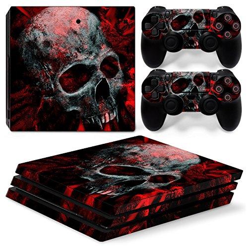 Mcbazel Vinyl Sticker Protect für Konsole & Controller, Pattern Series Haut Aufkleber für PS4 Pro-Red Skull