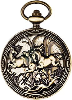 AI LI WEI Automatic Mechanical Watch Men and Women Examination Table flip Retro Hollow Pocket Watch to Commemorate