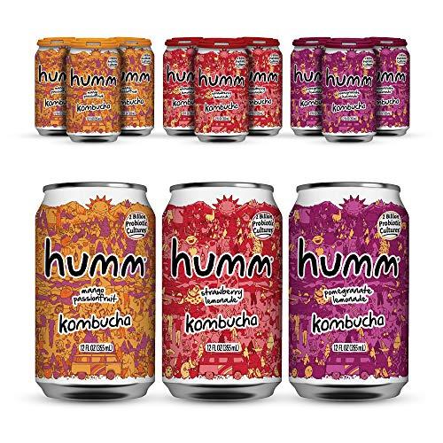 Humm Probiotic Kombucha Favorite Flavor Pack - 2 Billion Probiotics for Gut Health - Mango Passionfruit, Hopped Grapefruit and Pomegranate Lemonade (12 Pack)