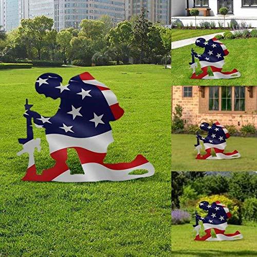 Sitfe American Flag Kneeling Soldier Weathered Flag Metal Art Decor, US Military Kneeling Soldier Garden Flag Vertical Yard Outdoor Decoration (A)