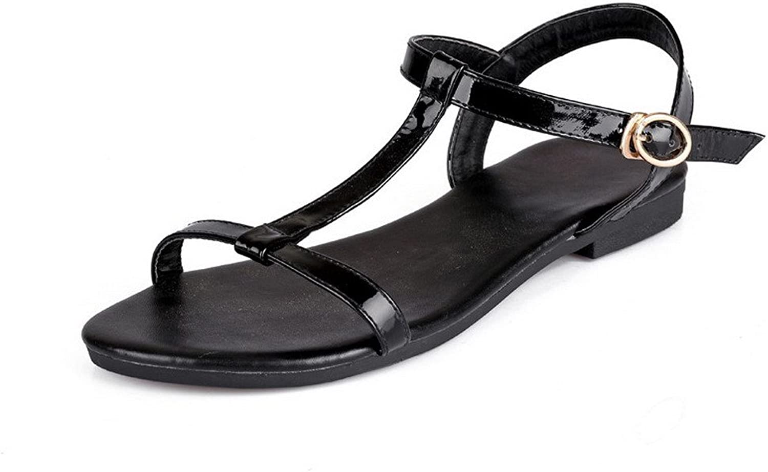 WeiPoot Women's No-Heel Patent Leather Solid Buckle Open Toe Flats-Sandals