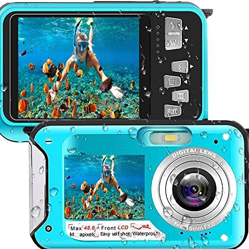 Waterproof Underwater Digital Camera for Snorkeling,Waterproof Cameras Underwater Digital Cameras -Full HD 2.7K 48MP Dual Screen
