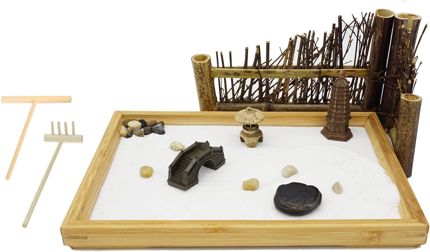 Japanese Zen Garden - Home & Office Desk Mini Garden with - 11.1x7.4 Inches Large - Bamboo Tray-Stone Tower, Stone lamp, Zen Stone- Meditation Gift Set for Relaxation-2 Rake Tools and Zen Accessories