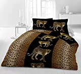 Riyashop Bettwäsche Garnitur Bettbezug Microfaser 135x200 155x220 200x200 Golden Cheetha (135 x 200 cm) (135x200)