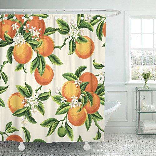Emvency Rideau de douche en tissu polyester imperméable Motif floral jaune avec fleurs et feuilles sur fond vert clair Motif botanique vintage 183 x 183 cm