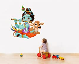 Rawpockets 'Lord Krishna Flute Playing with Cow' Wall Sticker (PVC Vinyl, 80 cm x 74cm)