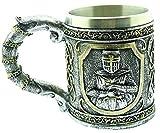 Copa de Caballero Medieval - templario - 3D - Calavera - Esqueleto - Acero Inoxidable - Resina - Jarra de Cerveza - Horror - gótico - Bebidas - Hombre - Vikingo - Halloween
