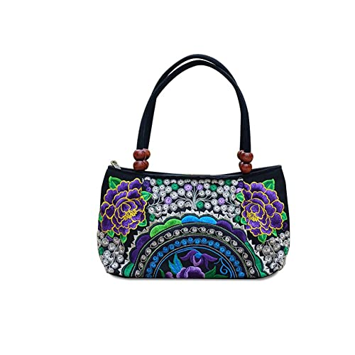 4131145114 Flower Embroidered Handbags Baguettes - Dxlta China Trend Women Handmade  Canvas Ethnic National (Blue,