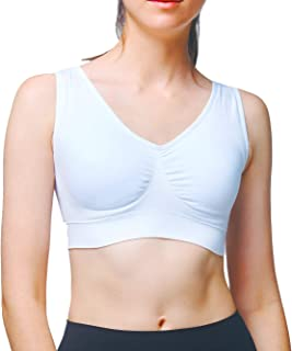 HAPPY FEATHER Women Seamless Comfortable Wireless Sleep Bra with Removable Pads, Sport Bras, Yoga Bras