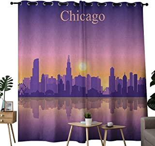 NUOMANAN Room Darkening Wide Curtains Chicago Skyline,Sunset in Illinois American Horizon Behind High City Silhouettes, Purple Apricot Pink,Light Blocking Drapes with Liner 52