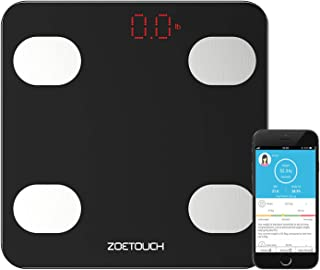 Smart Scale, ZOETOUCH Digital Bathroom Weight Fat Scales Body Composition Analyzer Health Monitor App for iOS and Android, Capacity of 11-396lb