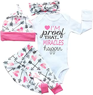 """gllive Baby Girls' Clothes Long Sleeve """"Miracles"""" Romper Outfit Pants Set +Hat+Headband"""