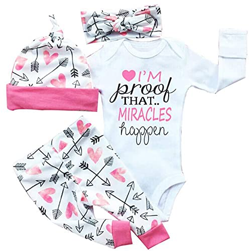 87ed6ed6a0243 Opperiaya 4 Pcs Newborn Baby Girls Clothes Miracles Letter Romper Outfit  Pants Set +Hat+