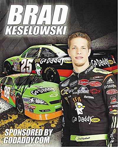 AUTOGRAPHED 2009 Brad Keselowski #88 GoDaddy Racing (Jr Motorsports) Busch Series Signed 8X10 NASCAR Hero Card with COA
