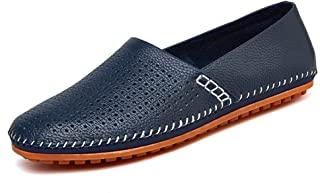 Leisure Driving Loafers for Men Casual Flat Penny Shoes Slip-on Soft Genuine Leather Stitch Round Toe Perforated Non-Slip Lightweight` Ameyso (Color : Blue, Size : 49 EU)