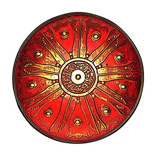 BestSaller 1154 Römerschild / Hoplitenschild, rund, Ø 33 cm, Holz, Ledergriff, rot/gelb