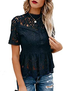 Women's Short Sleeve/Long Sleeve Sexy Sheer Mesh Lace Blouse Peplum Top