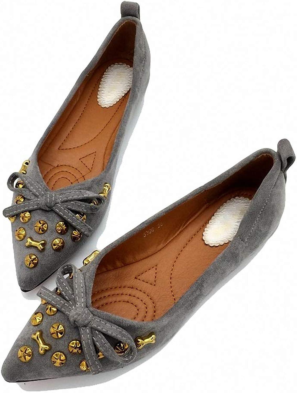 August Jim Women Flats shoes,Comfortable Rivet Point Toe Casual Ballerina shoes