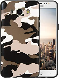 DEVMO Phone Case Compatible with Samsung Galaxy J510 / J5 2016 Camouflage TPU Gel Rubber Cover Case Camo Full Body Protection Shockproof Drop Protection White