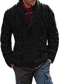 Runcati Mens Cardigan Sweater Casual Shawl Collar Striped Cable Knit Jacket Coat