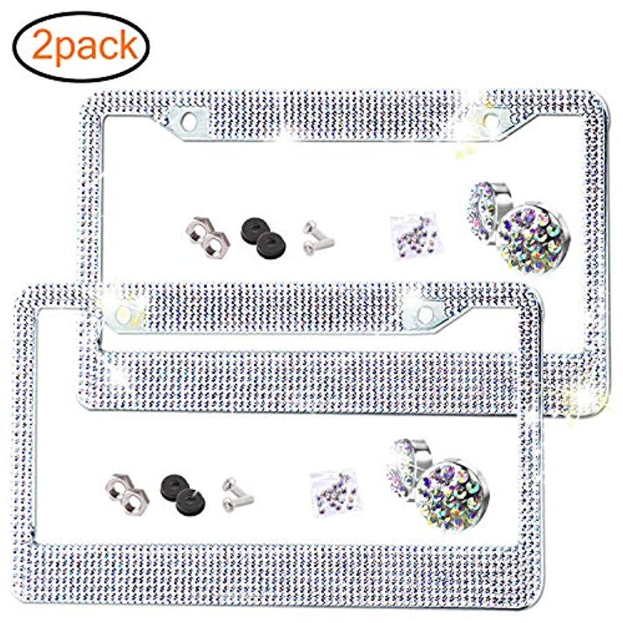 2 Pack Bling License Plate Frame, Premium Stainless Steel Metal Frame, Pure Handmade Glitter Rhinestones with 2 Holes Bonus Matching Screws Caps Set