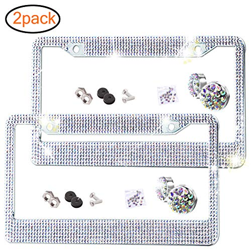 Otostar Handmade Finest 14 Facets SS20 Crystal Diamond Stainless Steel License Plate Frame Silver 4 Rows 4 Holes 2 Pack