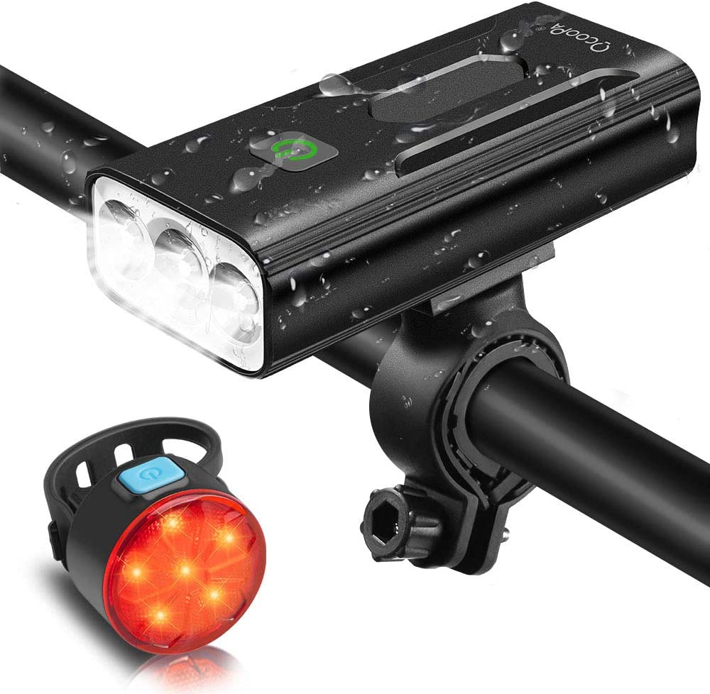 phares /étanches IPX5 compatibles avec tous les v/élos Z03-5200 mAh-1200 LM-3 modes 3 modes de feux avant et arri/ère OCOOPA Kit de lumi/ères de v/élo rechargeable 5200 mAh USB 1200 lumens super lumineux