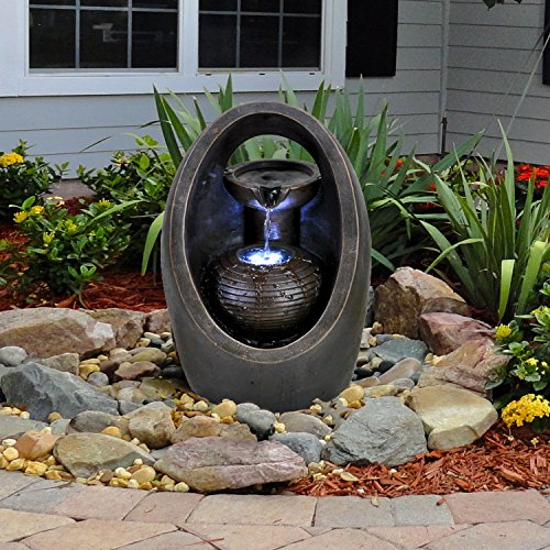 GEEZY Garden Water Feature LED Fountain Indoor/Outdoor Cascading Freestanding Polyresin Garden Statue Lights & Water Decoration (Oval Fountain)