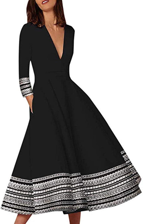 DMIZ Sexy V Neck Women's Vintage Long Ball Gown Prom Print Ladies Evening Party Swing Dress Womens Dress Ruffle Hem Sleeveless Aline Party Cocktail Dress (Size   XXL)
