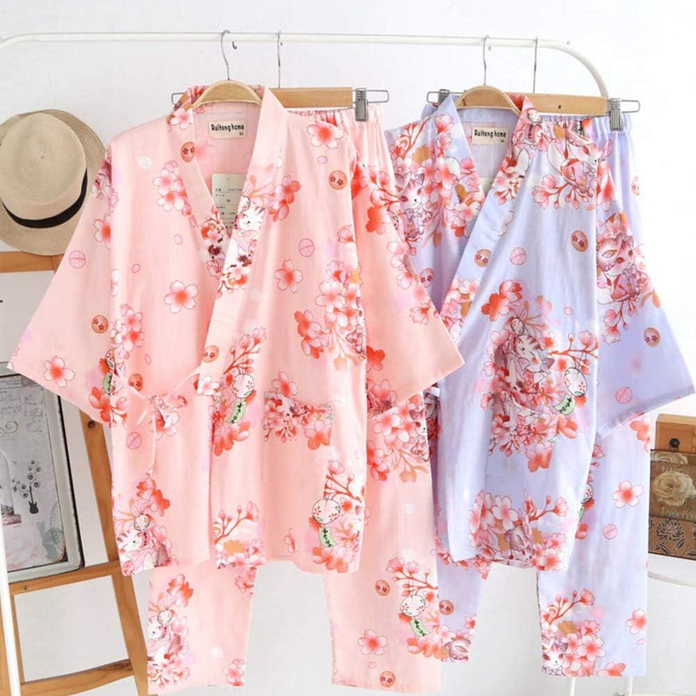 Fancy Pumpkin Japanische Frauen Robe Baumwolle Morgenmantel Kimono Pyjamas Nachthemd [Größe L] Green905