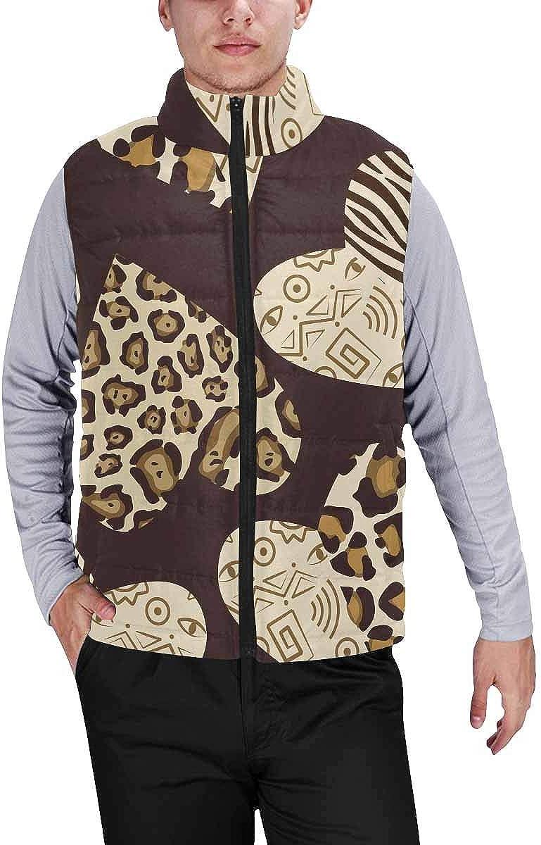 InterestPrint Men's Winter Lightweight Sleeveless Padded Vest Heart Music Background