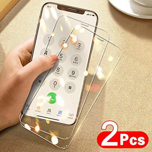 KDLLK 2 Piezas de Vidrio Protector de Cubierta Completa, para iPhone 11 Pro MAX película de Vidrio Templado, paraiPhone X XR XS MAX 6 7 8 Plus Protector de Pantalla