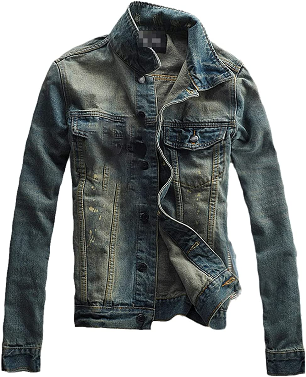 High-Street Men Ripped Jeans Jackets Washed Patchwork Distressed Denim Man Slim Fit Streetwear Hiphop Vintage Jacket