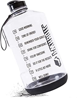PWRBOTL 1 Gallon Water Bottle with Motivational Time Marker & Drop Protection | Leakproof BPA Free 128oz Reusable Sports Fitness Water Jug| This Large Gym Bottle Empowers You to Drink More Water Daily
