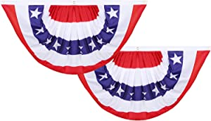 2 Pieces USA Pleated Fan Flag, 60 x 120 cm American US Bunting Flags Patriotic The United States Half Fan Banner for Veteran's Day 4th of July Decorations