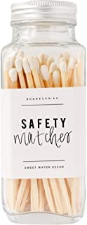 Sweet Water Decor White Safety Matches - Glass Jar | 60 Strike On Bottle Matches Vintage Matches Home Decor Candle Accessory White Tip