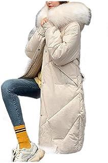 neveraway Womens Warm Boyfriend Down Coat Wool Coat with Faux Fur Hood