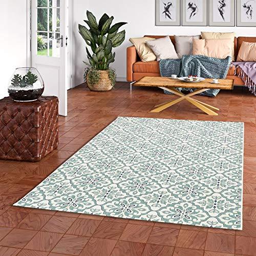 In & Outdoor Teppich Flachgewebe Carpetto Fliesenoptik Mintgrün in 4 Größen