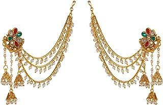 PRITA Party Wear 18k Kundan Gold Plated Red & Green White Polki & Pearl Bahubali Jhumki/Jhumka Earrings For Girls and Women