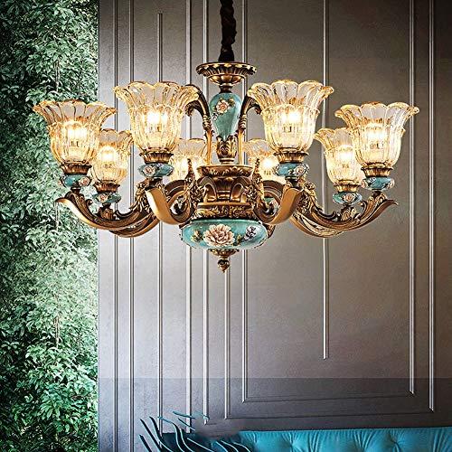 TQQ Iluminación colgante Lámpara Atmósfera de lujo europea sala de estar Chandelier americano retro villa dormitorio dormitorio resina cristal lámpara (Size : Large-55cm)