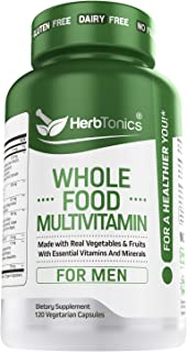 Whole Food Multivitamin for Men with 62 Superfoods Raw Veggies - Daily Natural Vitamins and Minerals Vegan & Vegetarian 12...