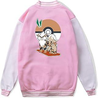 VJJ AIDEAR Pokemon Growlithe & Arcanine Baseball Uniform Jacket Sport Coat Child Long Sleeve Hoodie Pullover Black