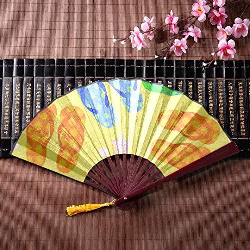 Fans japonesas chinas chanclas de colores lindos con marco de bambú colgante de borla y bolsa de tela Abanicos de mano Abanicos plegables japoneses baratos Fancy Fancy Fans plegables para mujeres