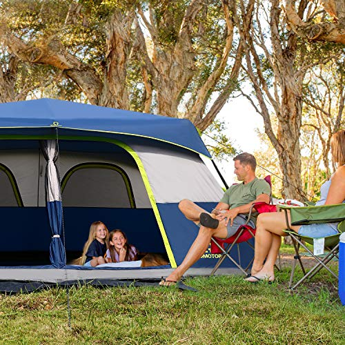 OT QOMOTOP 10 Person Instant Cabin Tent,60 Seconds Easy Set Up,Camping Tent Waterproof with Top Rainfly, Cabin Tent, Provide Room Divider, Electrical Cord Access Port and Gate Mat.