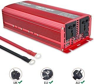 Yinleader Inversor De Corriente 1500W Pico 3000W Transformador De 12v A 230v, Inversor con 2