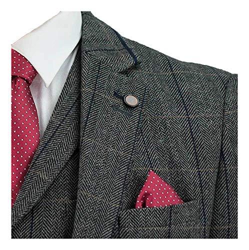 Męski 3-częściowy garnitur tweedowy vintage antracyt szary w jodełkę w kratkę retro wąski krój, kurtka, kamizelka, spodnie