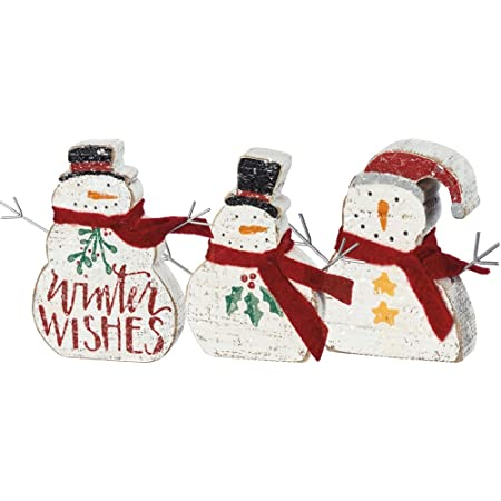 Primitives By Kathy Hand Lettered Christmas Winter Wishes Chunky Sitter Snowmen Set Of 3 Home Kitchen
